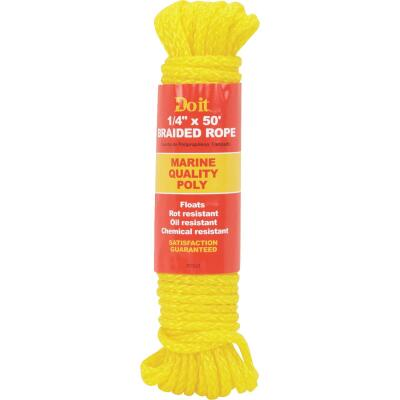 Do it 1/4 In. x 50 Ft. Yellow Braided Polypropylene Packaged Rope
