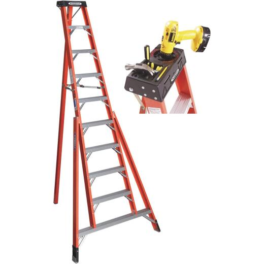 Werner 10 Ft. Fiberglass Tripod Step Ladder with 300 Lb. Load Capacity Type IA Ladder Rating